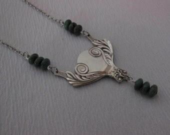 Silver and Jade    Antique Silverware Necklace