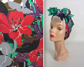 Bold floral scarf • vintage silk scarf • square scarf