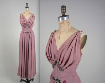 1930s glamorous evening gown • vintage 30s dress • beaded lilac gown