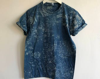 Indigo and Black Abstract Hand Dyed T-shirt