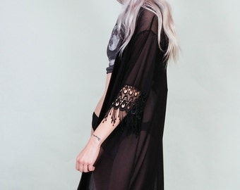 Errant Ways - Black velvet and sheer mesh kimono with lace fringe - 70s style boho rock