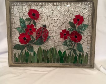 Red Flowers and Lady Bug mosaic window panel