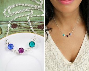 Simple Birthstone Necklace • Silver Swarovski Birthstone Charm • Connected Crystal Charm Mom Jewelry Grandma • Linked Birthstone