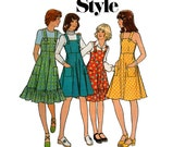 70s Girls Pinafore Dress Pattern Style 1526 Kawaii Cute Tween Teen Vintage Sewing Pattern Size 10 Chest 28 1/2  inches UNCUT Factory Folded