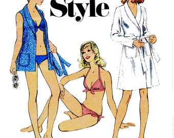 Style 4633 Womens Bikini & Beach Wrap Cover Up 70s Vintage Swimsuit Bathing Suit Sewing Pattern Size 12 Bust 34 inches
