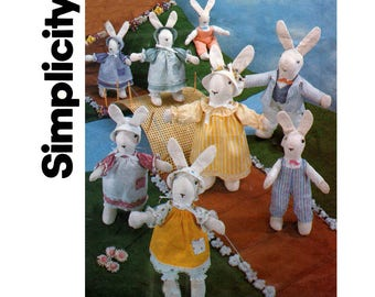 Simplicity 6312 Easter Bunnies with Clothes Vintage Sewing pattern Stuffed Rabbit Toys Easter Bunny Soft Toys