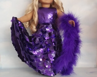 18 inch doll clothes - #237 Purple Sequin Gown handmade to fit the American Girl Doll - FREE SHIPPING