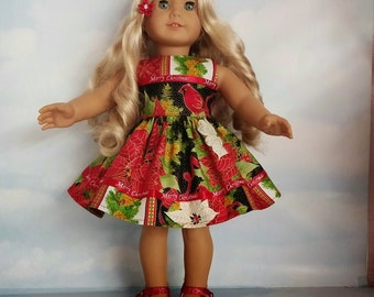 18 inch doll clothes - Christmas Dress made to fit the American Girl Doll