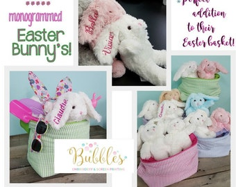Monogrammed Easter Bunny Name Embroidered on Ear Personalized Bunny for Girls and Boys Plush Bunny