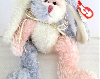 Ty Attic Treasures Bean Bag Bunny May Original Tag Retired White, Pink & Lavender Bear