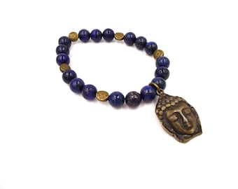 Mens Buddha Bracelet - Buddha Bracelet - Yoga Bead Bracelets - Beaded Bracelets - Yoga Bracelet - Lapis Lazuli - Healing Stones Bracelet