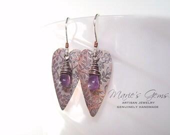 Heart Earrings, Amethyst Earrings, Wire Wrapped, Copper Jewelry, Valentine Gift, Handmade Jewelry, Birthstone Jewelry, Textured Copper, 1007