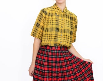 PACO RABANNE Yellow Plaid Blouse | Button Up Shirt | Vintage Italian Designer Top | S / M
