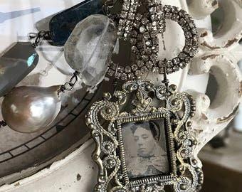 denim and pearls - vintage tintype necklace photo portrait rhinestone gemstone statement blue kyanite crystal quartz, the french circus