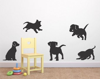 Puppy Vinyl Wall Decal Set of 5 - Puppy Decal - Nursery Vinyl Wall Decal - Puppy Sticker - Child's Room Wall Decal - Dog Puppies Wall Decals
