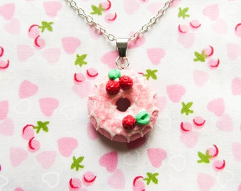 Strawberry Donut/Doughnut Necklace, Kawaii Necklace, Food Necklace, Food Jewelry, Polymer Clay, Cute Necklace, Sweet Lolita