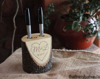 Personalized Wedding Gift Guest Book Alternative Custom Rustic Log Marker Holder Names Date Initials