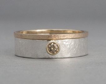 Champaign Diamond Engagement Ring and Wedding Band in 14k Yellow Gold and Sterling Silver