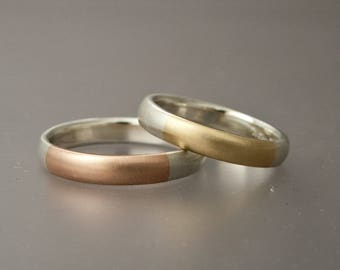 Two Tone Mens Wedding Band  - Married Metals 14k Yellow or Rose Gold and Silver 4mm Wide Comfort Fit Ring