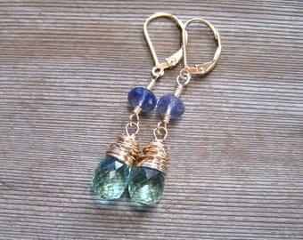 14K Gold Green Amethyst and Iolite Earrings, February Birthstone Jewelry, Wire Wrapped Dangle Earrings