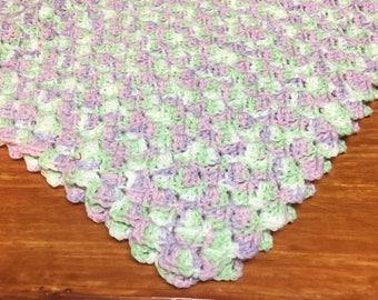 Hand Crocheted Baby Blanket/Afghan in Greens and Lavenders