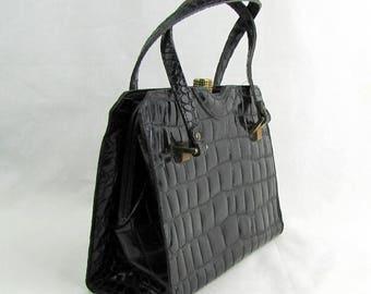 Vintage 1960s Embossed Black Leather Dofan Handbag Made in France