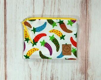 Snack Size Reusable Bag - Zipper Pouch - Sandwich Bag - Reusable Bag - Fiesta Peppers