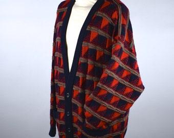 New Wave Style COOGI Cardigan, Size Large 100% Wool