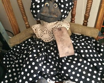 Primitive Handmade Black Doll