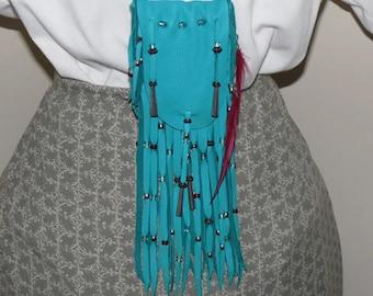 Turquoise leather medicine bag