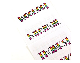 Shop Exclusive rainbow lettered stickers variety pack - woohoo!, thanks!, happymail