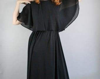 70s Black Dress, Gothic Romance Maxi Dress, Modest Dress, Disco, Chiffon, Jersey Dress, Wicca, Vintage, Size Medium, FREE SHIPPING