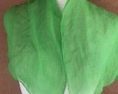 Small Crepe Rectangular 1950's Lime Green Scarf