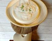 White Straw Hat with Flowers - Flowered White Hat - Ivory Spring Hat -  Summer Hat - Wedding Hat - Garden Party - Ladies Hat - Childs Hat