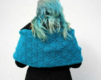 Turquoise Stole Shawl, Hand Knitted Wrap, Openwork Lace Shrug, Winter Fashion Women's Accessories, Thick Warm Chunky Scarf, Luxury Stole