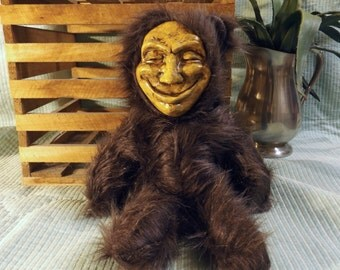 Original Hand Sewn Scary Smiling Teddy Bear Toy
