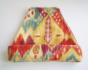 Fleece Tribal Cap, Fleece Tribal Hat, Fleece Tribal Slouchy Hat, Fleece Aztec Cap, Fleece Aztec Hat, Aztec Slouchy Cap, Aztec Slouchy Hat