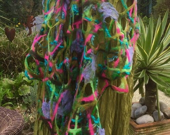 Cobweb felted wool shawl green pink turquoise lilac jade wrap scarf  - textural lacy holey - fiber art to wear lagenlook - OOAK