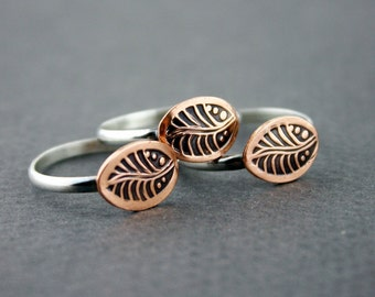 Copper Leaf & sterling silver stacking ring- copper leaf jewelry- stamped copper ring- mixed metal ring- natural copper ring- Made to Order