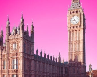 Big Ben Photo, London Photography, Parliament,  England, wall art, hot pink, Travel Photography, Historical Architecture, Westminster Bridge