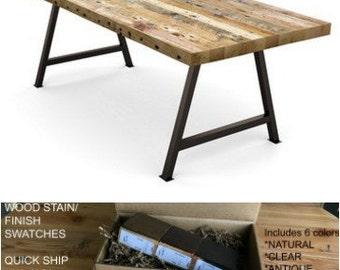 Reclaimed Wood Dining Table, Farnhouse Table, Harvest Table. Finish/stain  Sample Kit
