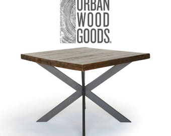 Pedestal Square table in dark walnut (pic 1) made of reclaimed wood in your choice of size, thickness and finish