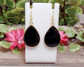Black Agate Tear Drop Earrings - Gemstone Earrings - Goldtone