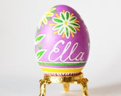 baby's first Easter egg Pysanka real chicken egg pandpainted with hot beeswax pink children's eggs