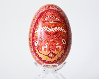 Christmas Reindeers Pysanka  ukrainian Easter Eggs hand painted Goose egg kiss up to your mother in law with this handcrafted unique gift