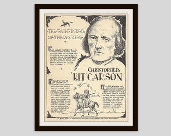 Kit Carson, Vintage Art Print, Classroom Art, History Teacher Gift, US History, American West, Old West, Mountain Man, Man Cave Decor