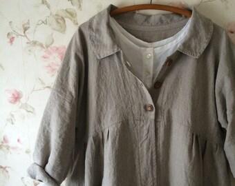 Custom Homespun Linen Duster Long Coat Washed Natural Rustic Linen Coat Dress Button Down Front Prairie Dress Lagenlook
