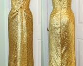 Sexy Monroe Style Gold Pleated Formal Gown- Custom Made to Order