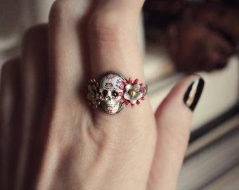 Aged Silver & Swarovski Ring - Skull - White - Paint - Dia de los Meurtos - Cute - Festive - Holiday - Death - Fall - November - Unique