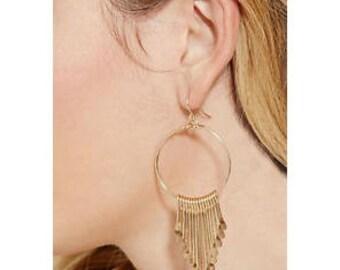 Free Gift-wrap! Golden chandelier dangle Earrings